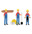 constructor or builder in yellow hard hat holding vector image vector image