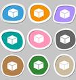 cube symbols Multicolored paper stickers vector image