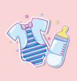 cute shirt and baby bottle vector image vector image