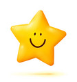cute yellow smiling little star isolated on white vector image vector image