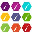 dental probe icon set color hexahedron vector image vector image