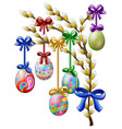 easter eggs decorated hanging on a tree branch vector image