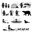 eskimo people lifestyle and animals stick figure vector image vector image