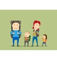 Family with backpacks Parents and kids hiking vector image vector image