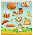 Farm Wheat and bread Food 3d set vector image vector image