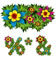 flowers alphabet 14 vector image vector image