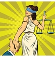 follow me Themis leads to court vector image vector image