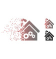 fractured pixel halftone plant building icon vector image vector image