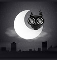 good night card with sleeping moon and cute owl vector image
