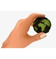 green planet in the palm vector image vector image