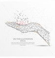 hand low poly wire frame on white background vector image vector image