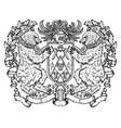 heraldic emblem with bear holding shield vector image