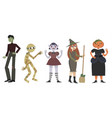 interesting characters for a halloween party vector image vector image