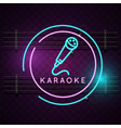 karaoke neon microphone sign background ima vector image vector image