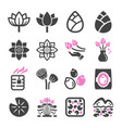 lotus icon set vector image vector image