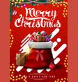 merry christmas red vertical postcard with vector image