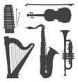 monochrome music instruments silhouettes vector image vector image