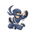 ninja jumps with his hand successfully vector image