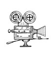 old movie camera engraving vector image vector image