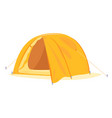 one modern orange hemisphere tourist tent isolated vector image