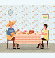 people are eating mexican food at home guys vector image vector image