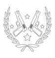 Pistol emblem line-art vector image vector image