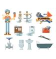 Professional plumbing repair service set vector image vector image