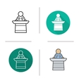 Speaker flat design linear and color icon set vector image vector image