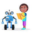 surprised african boy with book looks at robot vector image