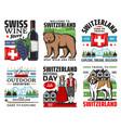 swiss travel icons switzerland alps mountains vector image vector image