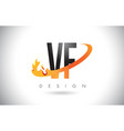 vf v f letter logo with fire flames design and vector image vector image