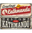welcome to kathmandu retro tin signs set vector image vector image