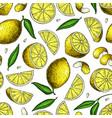 lemon seamless pattern drawing summer vector image