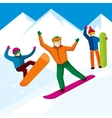 Snowboarder character in flat style vector image