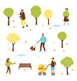 autumn set people in park vector image vector image