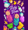 baby born poster girl and boy shower card vector image vector image