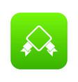 badge with ribbon icon digital green vector image vector image