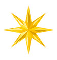beautiful faceted shiny gold crystal star vector image vector image