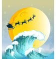 Big waves under the bright full moon vector image vector image