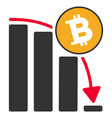 bitcoin fall down chart flat icon vector image