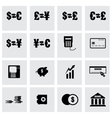 black bank icon set vector image vector image