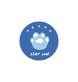 blue frame with - star cat - title and kitten paw vector image vector image