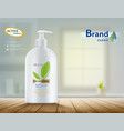 bottle with hygienic soap on a table vector image vector image