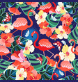 bright seamless pattern tropics flamingos and vector image vector image