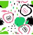 brush grunge apple seamless pattern vector image