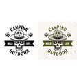 camping emblem with skull scout in two styles vector image vector image