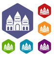 children house castle icons set vector image vector image