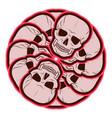 circular pattern of skulls emblem vector image
