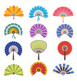 colored hand fan asian beautiful paper vector image vector image