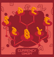 currency color concept isometric icons vector image vector image